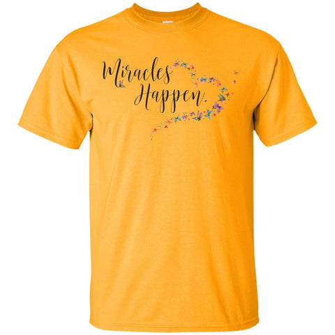 Miracles Happen Active Wear - Apparel - Custom Ultra Cotton T-Shirt - Gold - Small