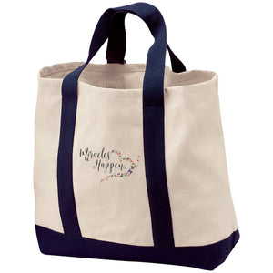 Miracles Happen Embroidered 2-Tone Canvas Shopping Tote - Bags - Natural/Navy - One Size -