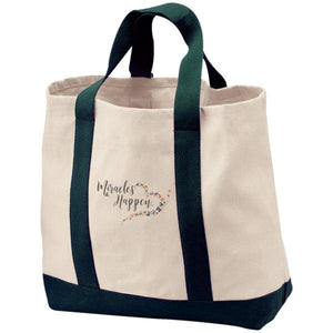Miracles Happen Embroidered 2-Tone Canvas Shopping Tote - Bags - Natural/Spruce - One Size -