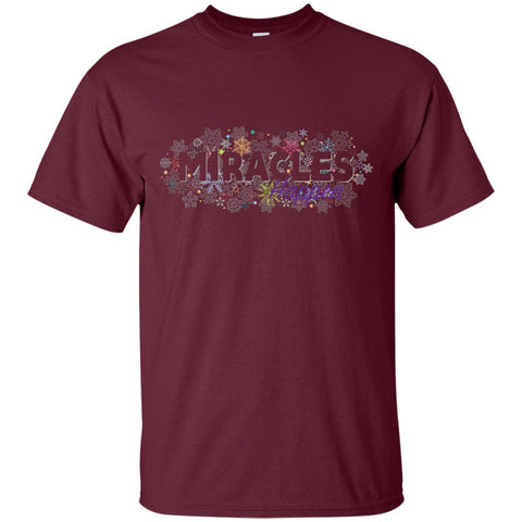 Miracles Happen Holiday Snowflake Tops - Apparel - Crew Neck Tee - Maroon - Small
