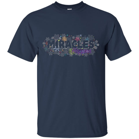 Miracles Happen Holiday Snowflake Tops - Apparel - Crew Neck Tee - Navy - Small