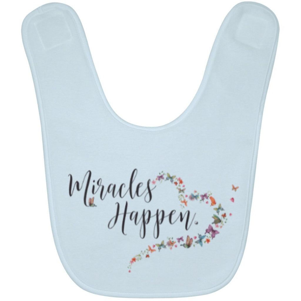 Miracles Happen Terry Baby Bib - Accessories - Blue - One Size -