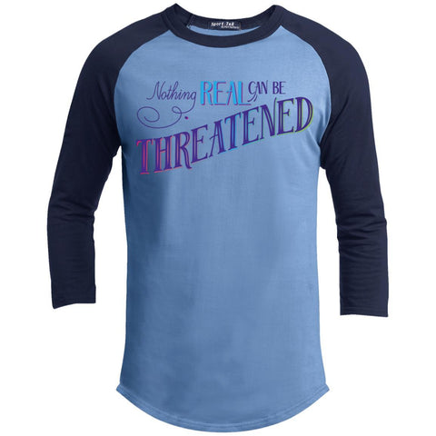 Nothing Real Can Be Threatened - Men's Two-Sided Shirts - ACIM-Apparel-Baseball Tee-Carolina Blue/Navy-X-Small-The Miracles Store