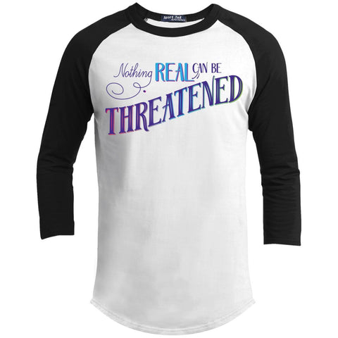 Nothing Real Can Be Threatened - Men's Two-Sided Shirts - ACIM-Apparel-Baseball Tee-White/Black-X-Small-The Miracles Store