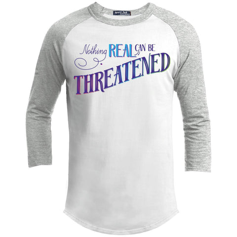 Nothing Real Can Be Threatened - Men's Two-Sided Shirts - ACIM-Apparel-Baseball Tee-White/Heather Grey-X-Small-The Miracles Store