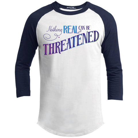 Nothing Real Can Be Threatened - Men's Two-Sided Shirts - ACIM-Apparel-Baseball Tee-White/Navy-X-Small-The Miracles Store