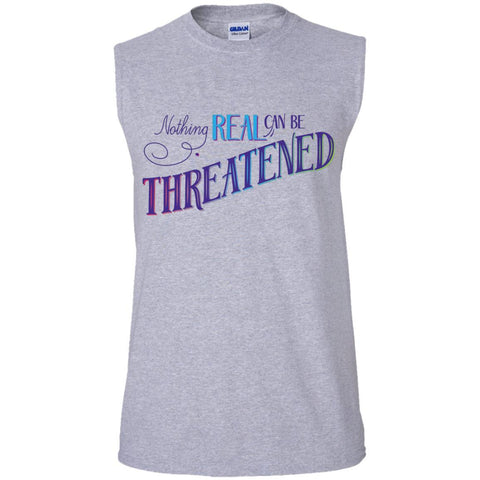 Nothing Real Can Be Threatened - Men's Two-Sided Shirts - ACIM-Apparel-Cotton Sleeveless T-Shirt-Sport Grey-Small-The Miracles Store