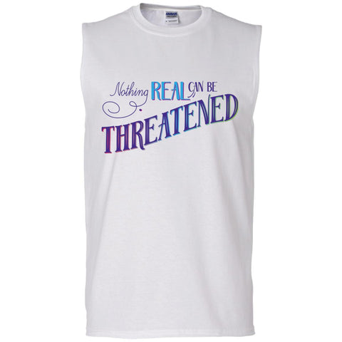 Nothing Real Can Be Threatened - Men's Two-Sided Shirts - ACIM-Apparel-Cotton Sleeveless T-Shirt-White-Small-The Miracles Store