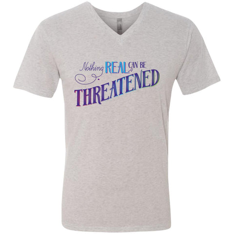 Nothing Real Can Be Threatened - Men's Two-Sided Shirts - ACIM-Apparel-V-Neck Soft Triblend T-Shirt-Heather White-Small-The Miracles Store