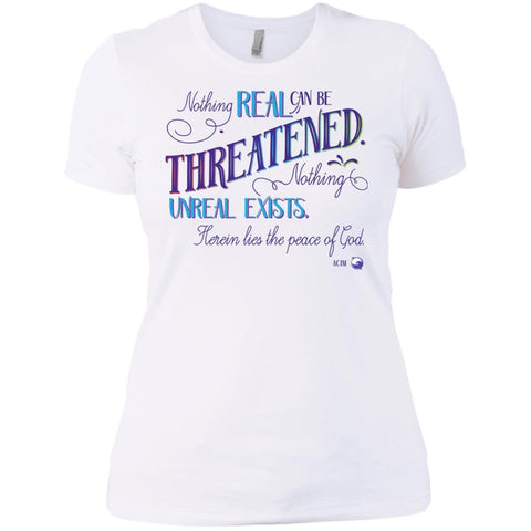 Nothing Real Can Be Threatened - Women's Shirts, Tees, and Tanks - ACIM-Apparel-Boyfriend T-Shirt-White-Small-The Miracles Store