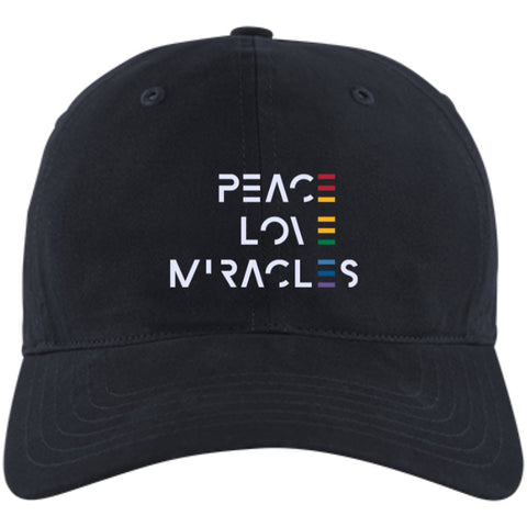 Peace, Love, Miracles Baseball Hats - Rainbow Motif - Apparel - Adidas Unstructured Cresting Cap - New Navy -
