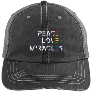 Peace, Love, Miracles Baseball Hats - Rainbow Motif - Apparel - Distressed Unstructured Trucker Cap - Black/Grey -