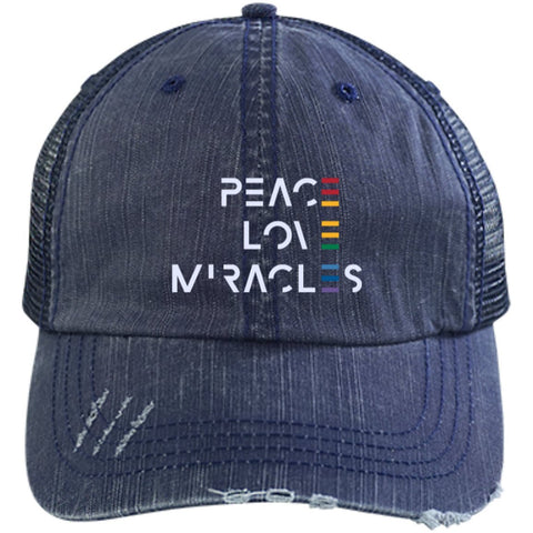Peace, Love, Miracles Baseball Hats - Rainbow Motif - Apparel - Distressed Unstructured Trucker Cap - Navy/Navy -