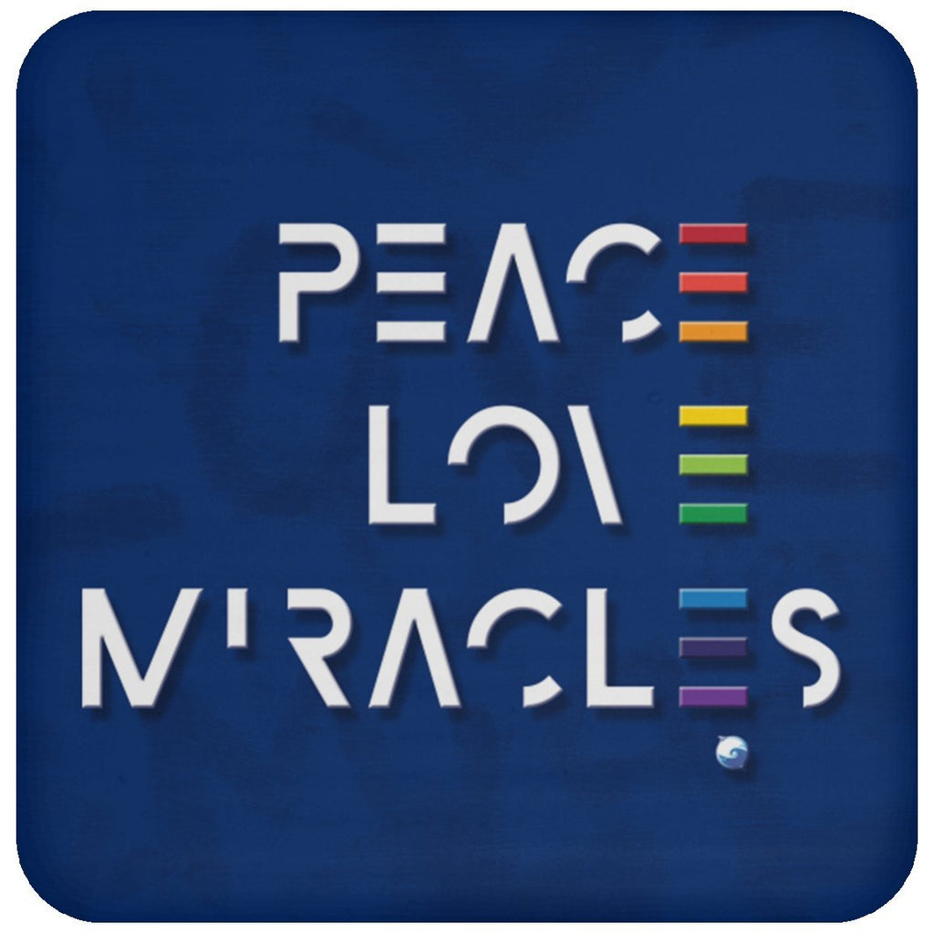 Peace, Love, Miracles Beverage Coaster - Accessories - Rainbow - -