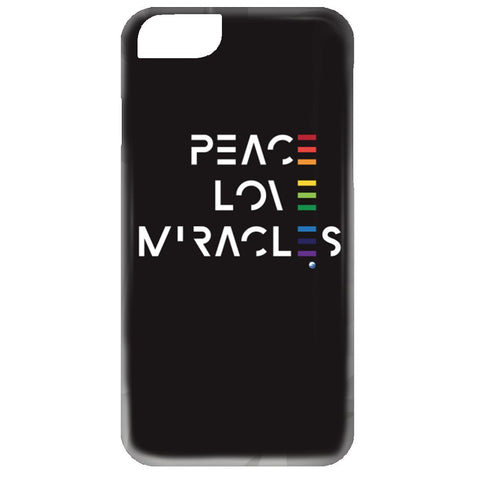 Peace, Love, Miracles Cell Phone - Rainbow Motif - Apparel - iPhone 6 Case - Black -