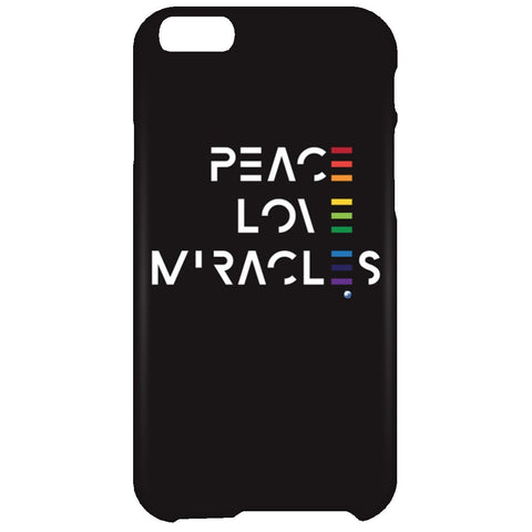 Peace, Love, Miracles Cell Phone - Rainbow Motif - Apparel - iPhone 6 Plus Case - Black -