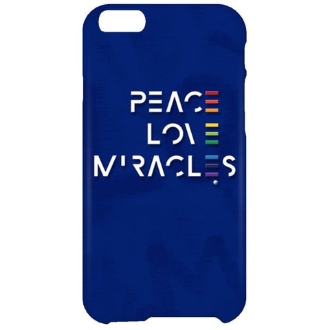 Peace, Love, Miracles Cell Phone - Rainbow Motif - Apparel - iPhone 6 Plus Case - Blue -