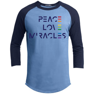 Peace, Love Miracles Long Sleeve Tops for Men or Women - Rainbow Motif - Apparel - Baseball Style T-shirt - Carolina Blue/Navy - X-Small