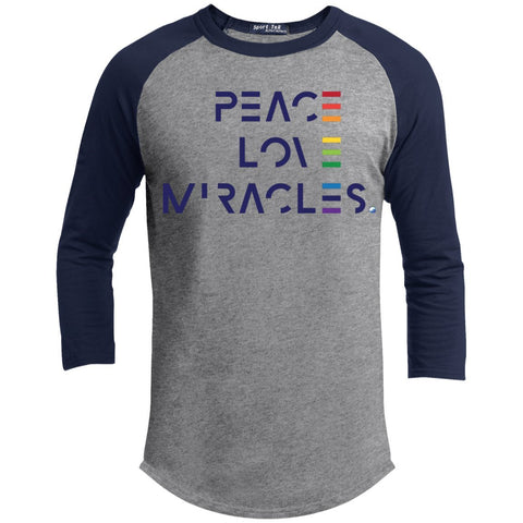 Peace, Love Miracles Long Sleeve Tops for Men or Women - Rainbow Motif - Apparel - Baseball Style T-shirt - Heather Grey/Navy - X-Small