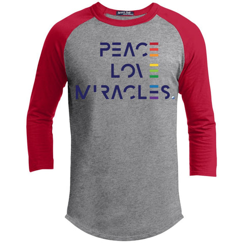 Peace, Love Miracles Long Sleeve Tops for Men or Women - Rainbow Motif - Apparel - Baseball Style T-shirt - Heather Grey/Red - X-Small
