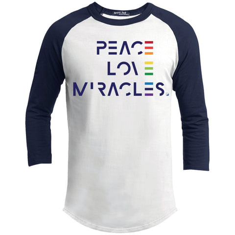 Peace, Love Miracles Long Sleeve Tops for Men or Women - Rainbow Motif - Apparel - Baseball Style T-shirt - White/Navy - X-Small