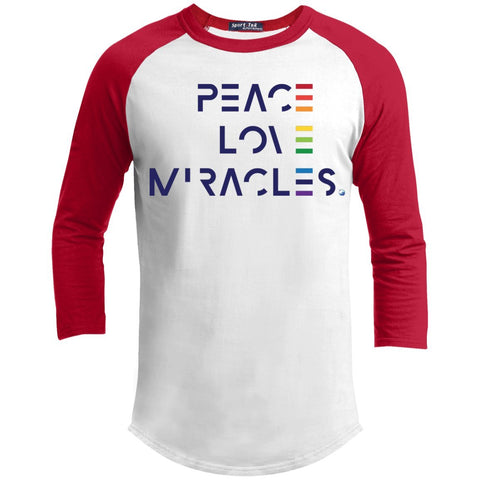 Peace, Love Miracles Long Sleeve Tops for Men or Women - Rainbow Motif - Apparel - Baseball Style T-shirt - White/Red - X-Small