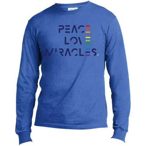 Peace, Love Miracles Long Sleeve Tops for Men or Women - Rainbow Motif - Apparel - Long Sleeve T-Shirt - Royal - Small
