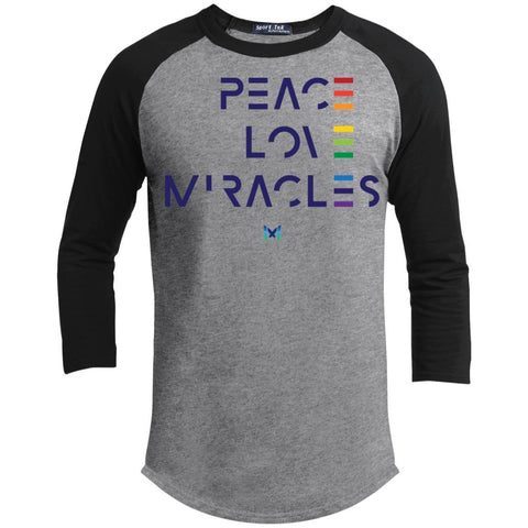 """Peace, Love, Miracles"" Men's Long Sleeve Tops-Apparel-Baseball Tee-Heather Grey/Black-S-The Miracles Store"