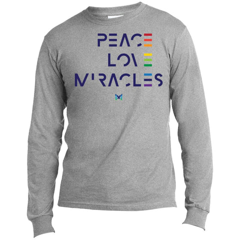"""Peace, Love, Miracles"" Men's Long Sleeve Tops-Apparel-Long-Sleeve-Athletic Heather-S-The Miracles Store"