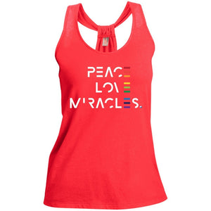 Peace, Love, Miracles Short Sleeve Tops for Women - Rainbow Motif - Apparel - Loop Back Tank - Bright Coral - Small