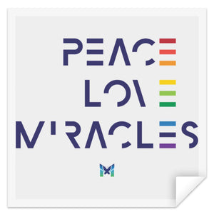 """Peace Love Miracles"" - Sticker-Apparel-Small (3"" x 3"")-The Miracles Store"