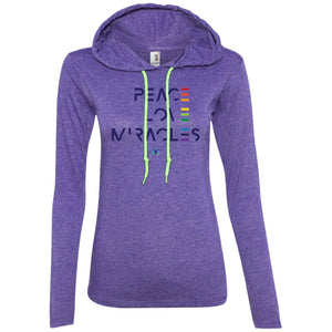 """Peace Love Miracles"" - Women's Lightweight Hoodie T-Shirt-Apparel-Heather Purple/Neon Yellow-S-The Miracles Store"