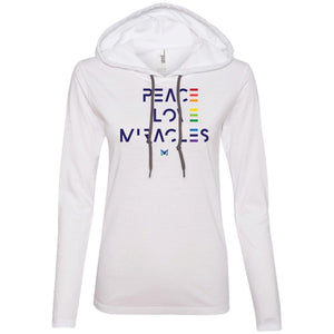 """Peace Love Miracles"" - Women's Lightweight Hoodie T-Shirt-Apparel-White/Dark Grey-S-The Miracles Store"