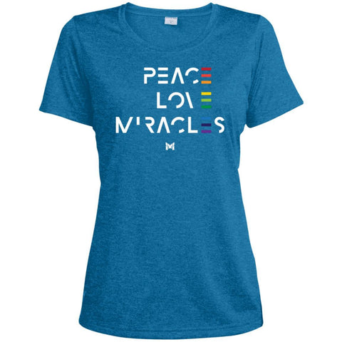 """Peace Love Miracles"" - Women's Tee Shirts-Apparel-Dri-Fit Moisture-Wicking-Blue Wake Heather-S-The Miracles Store"