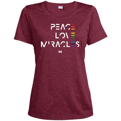 """Peace Love Miracles"" - Women's Tee Shirts-Apparel-Dri-Fit Moisture-Wicking-Cardinal Heather-S-The Miracles Store"