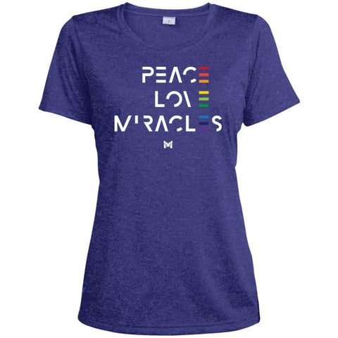 """Peace Love Miracles"" - Women's Tee Shirts-Apparel-Dri-Fit Moisture-Wicking-Cobalt Heather-S-The Miracles Store"