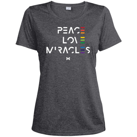 """Peace Love Miracles"" - Women's Tee Shirts-Apparel-Dri-Fit Moisture-Wicking-Graphite Heather-S-The Miracles Store"