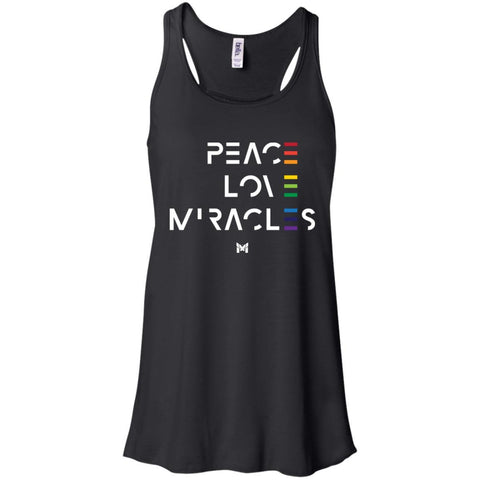 """Peace Love Miracles"" - Women's Tee Shirts-Apparel-Flowy Racerback Tank-Black-S-The Miracles Store"
