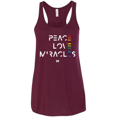 """Peace Love Miracles"" - Women's Tee Shirts-Apparel-Flowy Racerback Tank-Maroon-S-The Miracles Store"