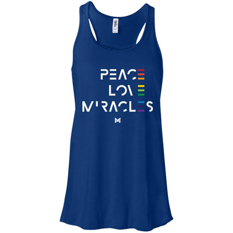 """Peace Love Miracles"" - Women's Tee Shirts-Apparel-Flowy Racerback Tank-True Royal-S-The Miracles Store"