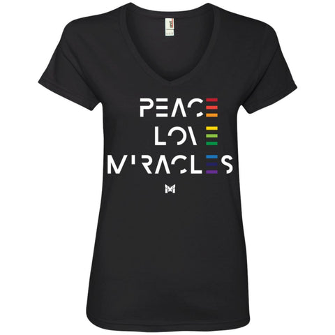 """Peace Love Miracles"" - Women's Tee Shirts-Apparel-V-Neck-Black-S-The Miracles Store"