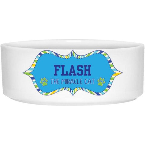 "Personalized ""Miracle Dog/Cat"" Ceramic Bowl-Pet Accessories-Blue-6""-Cat-The Miracles Store"