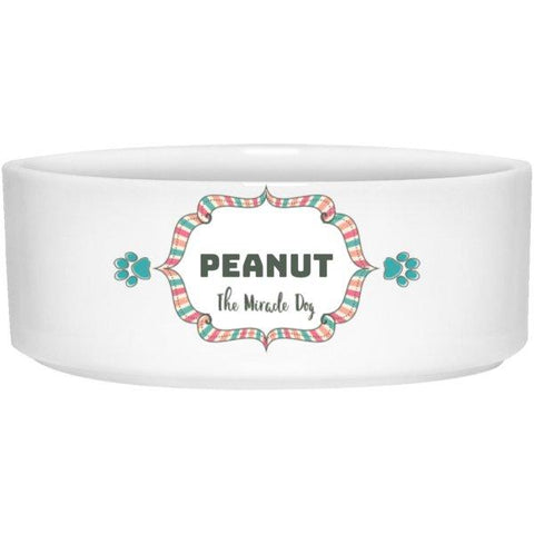 "Personalized ""Miracle Dog/Cat"" Ceramic Bowl-Pet Accessories-Pastel-6""-Dog-The Miracles Store"