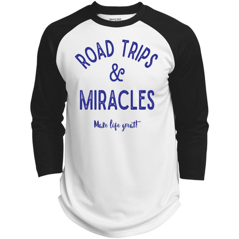 Road Trips & Miracles Baseball Style Tee - T-Shirts - White/Black - X-Small -