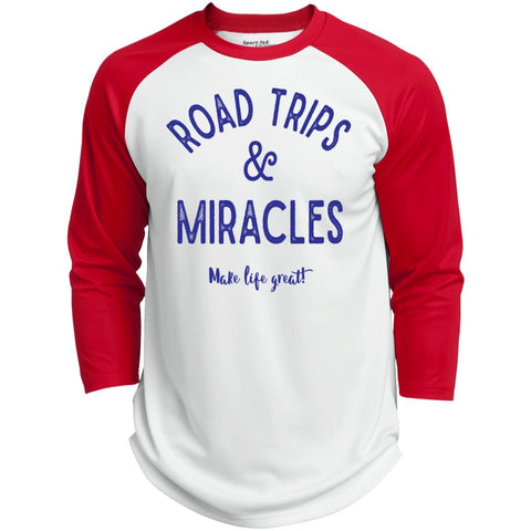 Road Trips & Miracles Baseball Style Tee - T-Shirts - White/True Red - X-Small -