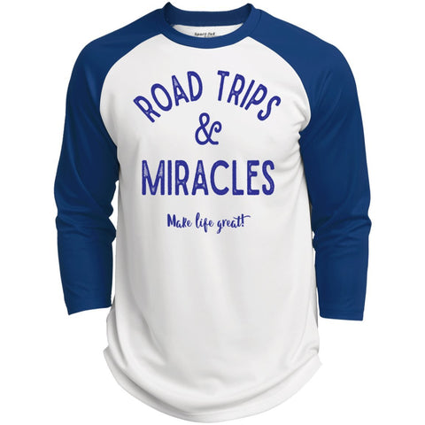 Road Trips & Miracles Baseball Style Tee - T-Shirts - White/True Royal - X-Small -