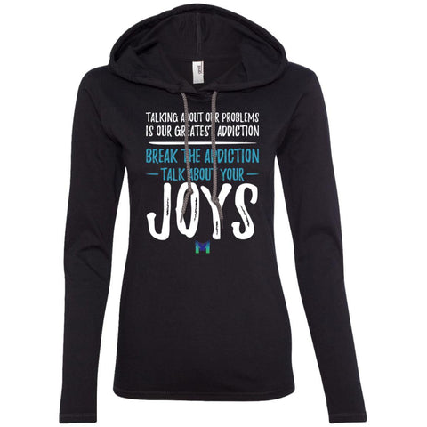 """Talk About Your Joys"" Women's Lightweight T-Shirt Hoodie-Apparel-Black-S-The Miracles Store"