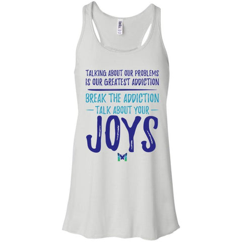 """Talk About Your Joys"" - Women's Shirts-Apparel-Flowy Racerback Tank-White-X-Small-The Miracles Store"