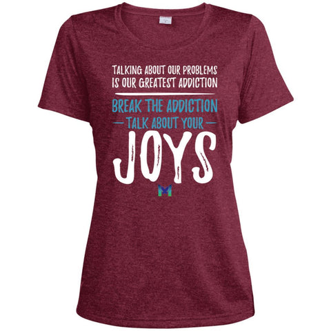 """Talk About Your Joys"" - Women's Shirts-Apparel-Moisture-Wicking Tee-Cardinal Heather-X-Small-The Miracles Store"