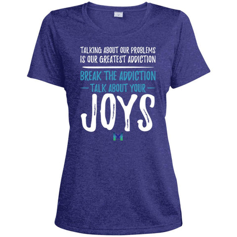 """Talk About Your Joys"" - Women's Shirts-Apparel-Moisture-Wicking Tee-Cobalt Heather-X-Small-The Miracles Store"